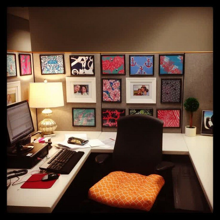 Unique Cubicle Office Decorating Ideas With Dollar Tree Frames