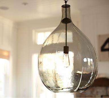 Clift Oversized Glass Pendant Seeded Glass Pendant Blown Glass