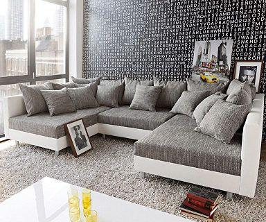 DELIFE Couch Clovis Schwarz mit Hocker Wohnlandschaft