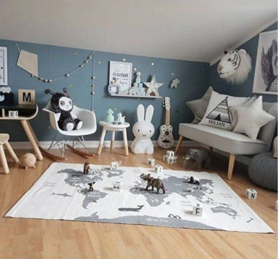 Baby Play Mat with Map of World and Animals Great for the Nursery