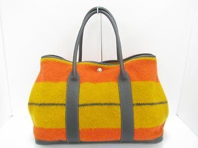 0fb77894c80d Auth-HERMES-Wool-Leather-Garden-Party-Rocabar-MM-Tote-Bag-Handbag-Multicolor