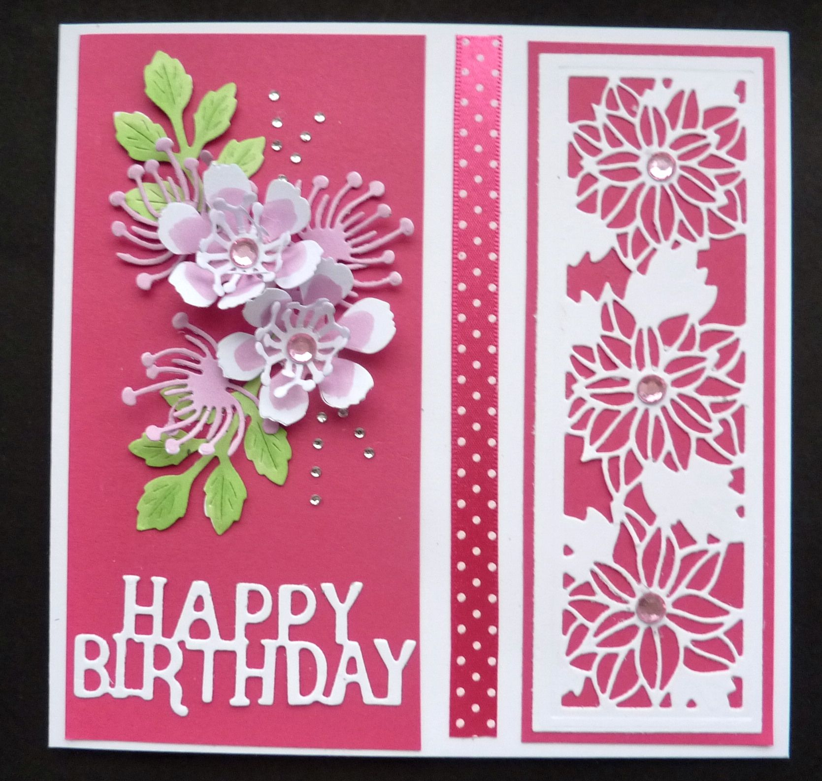 S329 Hand Made Birthday Card Using Sue Wilson Mini Flower Striplet