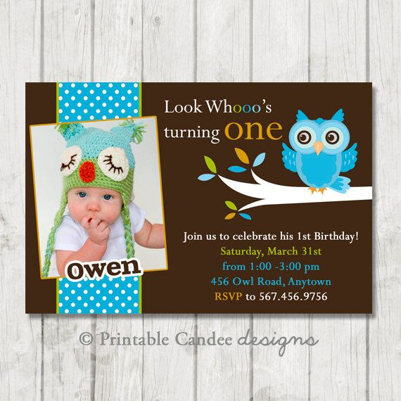 Mod Boy Owl Birthday Invitation