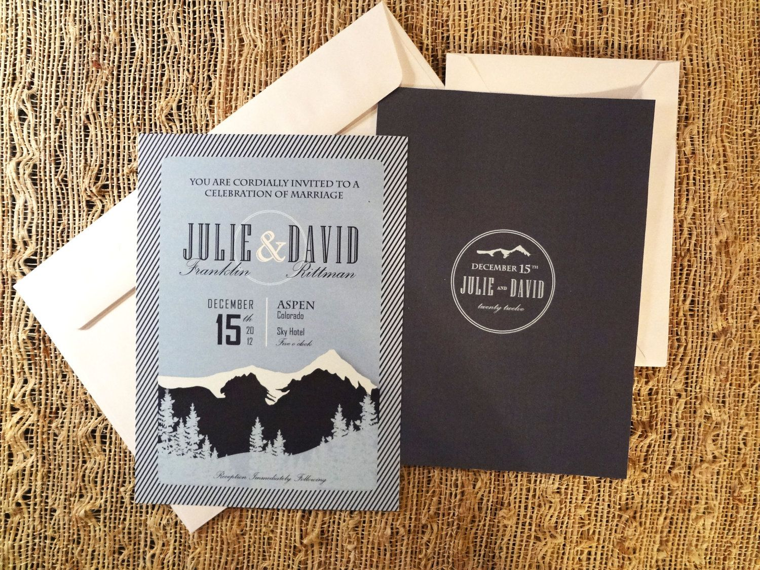 diy wedding invites rustic%0A Mountain Wedding Invitation  Modern Custom Design         via Etsy