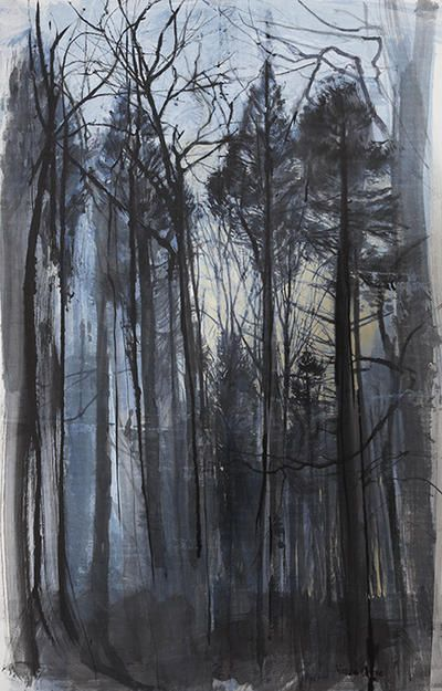 'Towering, February Light' by Victoria Crowe (mixed media on handmade paper on museum board)