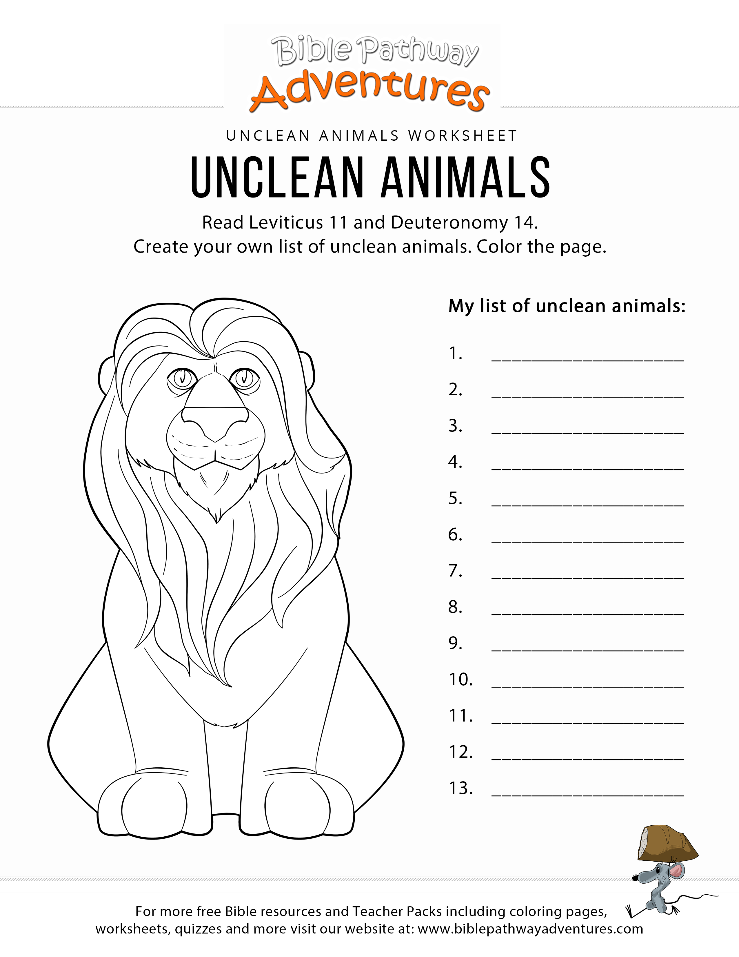 Unclean Animals Bible Coloring Page