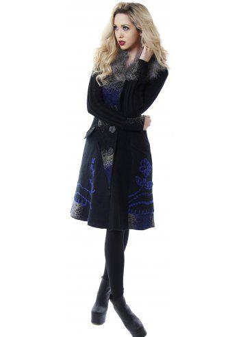 Stella Morgan Blue Embroidered Patchwork Black Knit Cardigan