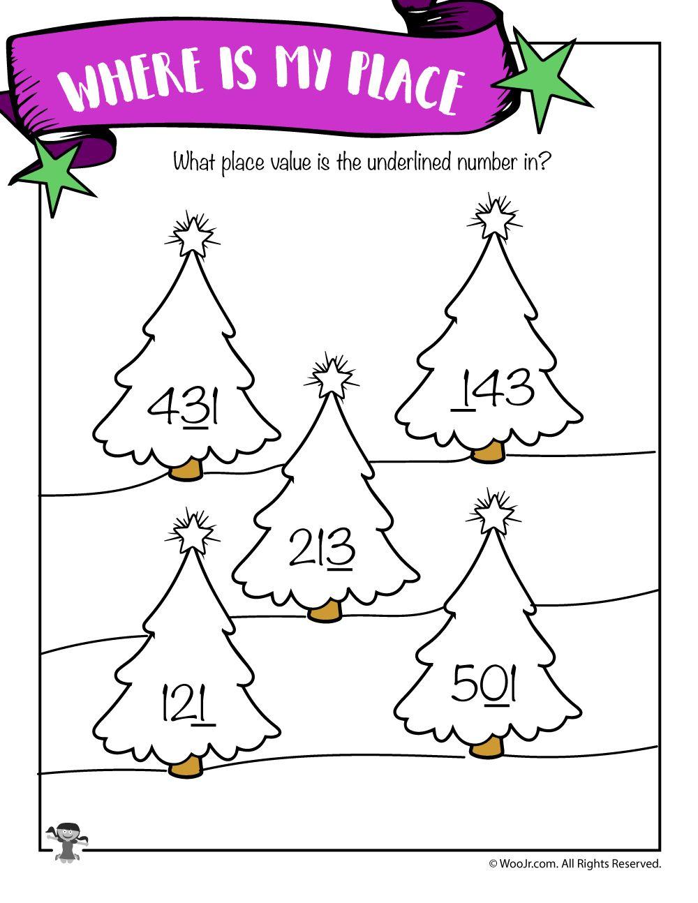 Christmas Trees Hundreds Tens And Ones Identification Worksheet Woo Jr Kids Activities Christmas Math Worksheets Christmas Math Tens And Ones