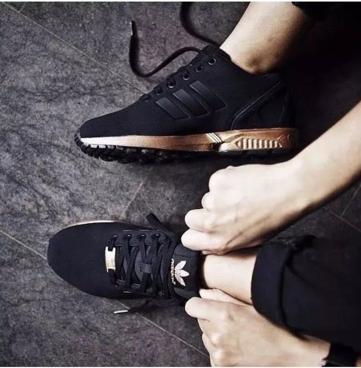 low priced 14ee7 42f09 Adidas ZX Flux Black Rose Gold Copper Limited Edition Size 7.5  fashion   clothing