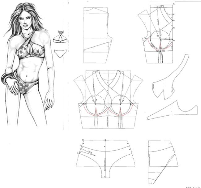 3 Pattern swimsuit. Выкройка купальника.   Great Refashions ...