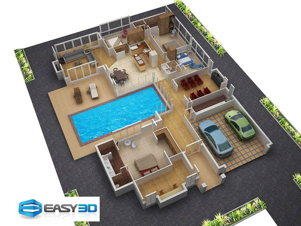 Small spaces home beauty ideas 3d house plan with clear for 4 bedroom house designs 3d