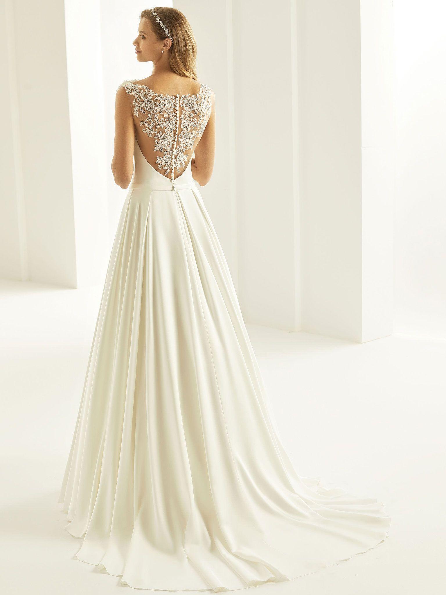 A-Linie Brautkleid aus hochwertiger Spitze und Satin. Bianco