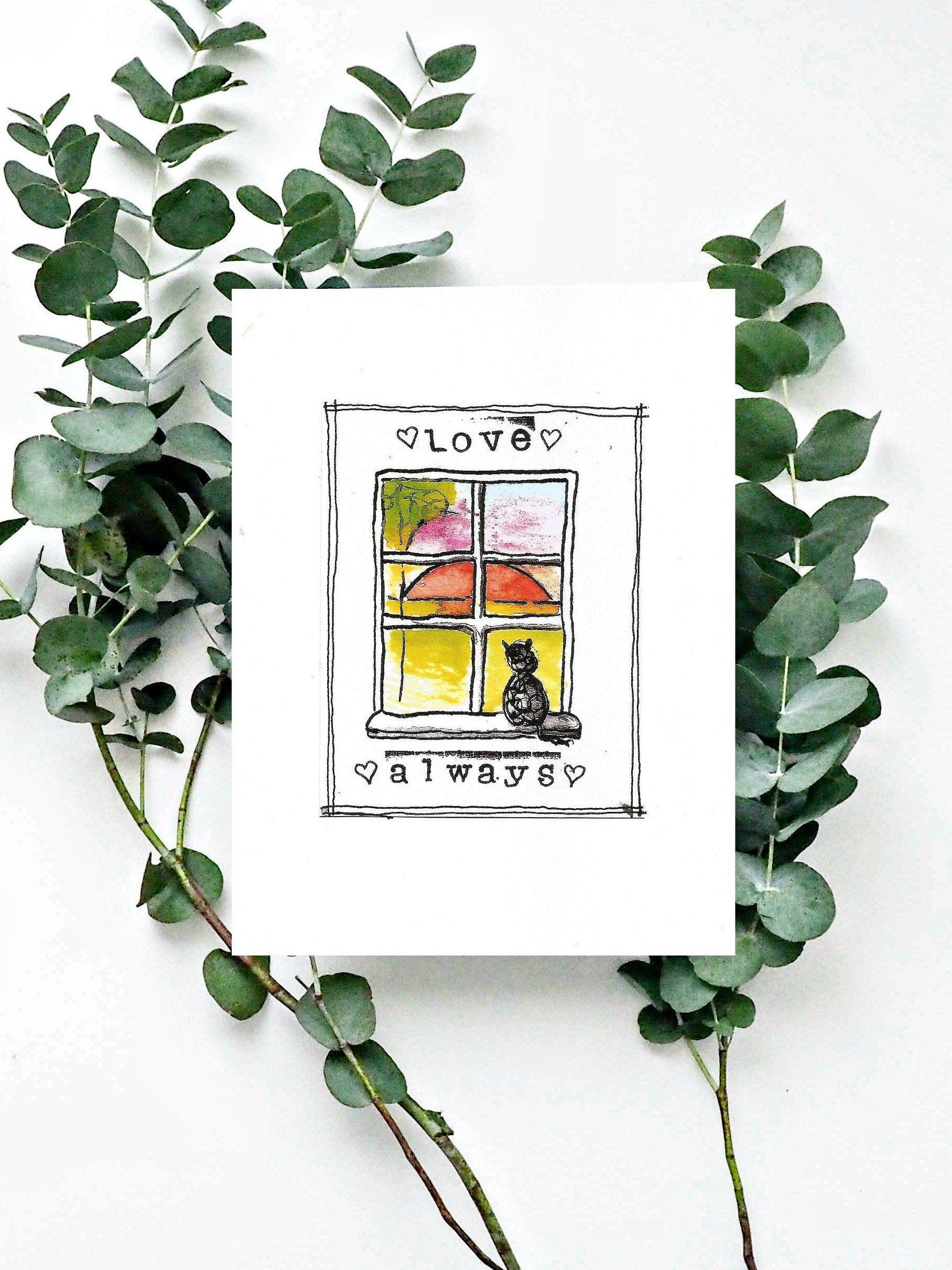 Cat Loss, cat sympathy card, pet loss, pet memorial gift, pet loss gift, sympathy gift, pet memorial, loss of cat, art print, illustration by ...