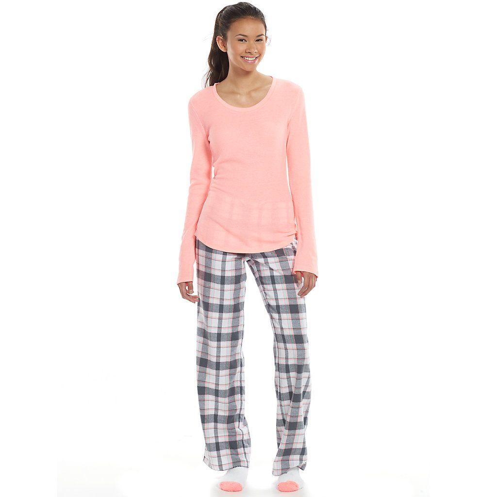 SO® Pajamas: Plaid 3-pc. Thermal Flannel Pajama Gift Set - Juniors ...