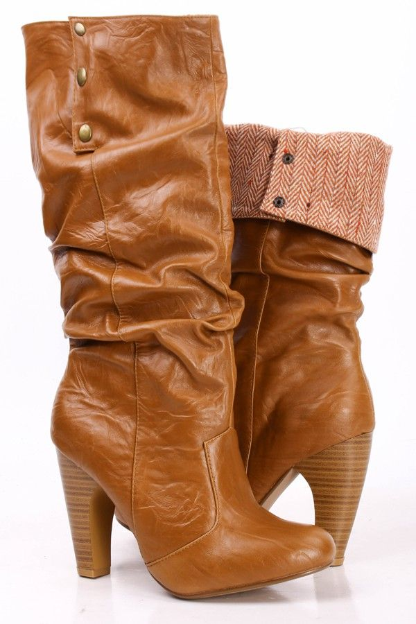16b810dabf2 CAMEL FAUX CRINKLE LEATHER FOLD OVER STACKED KNEE HIGH HEEL BOOTS ...