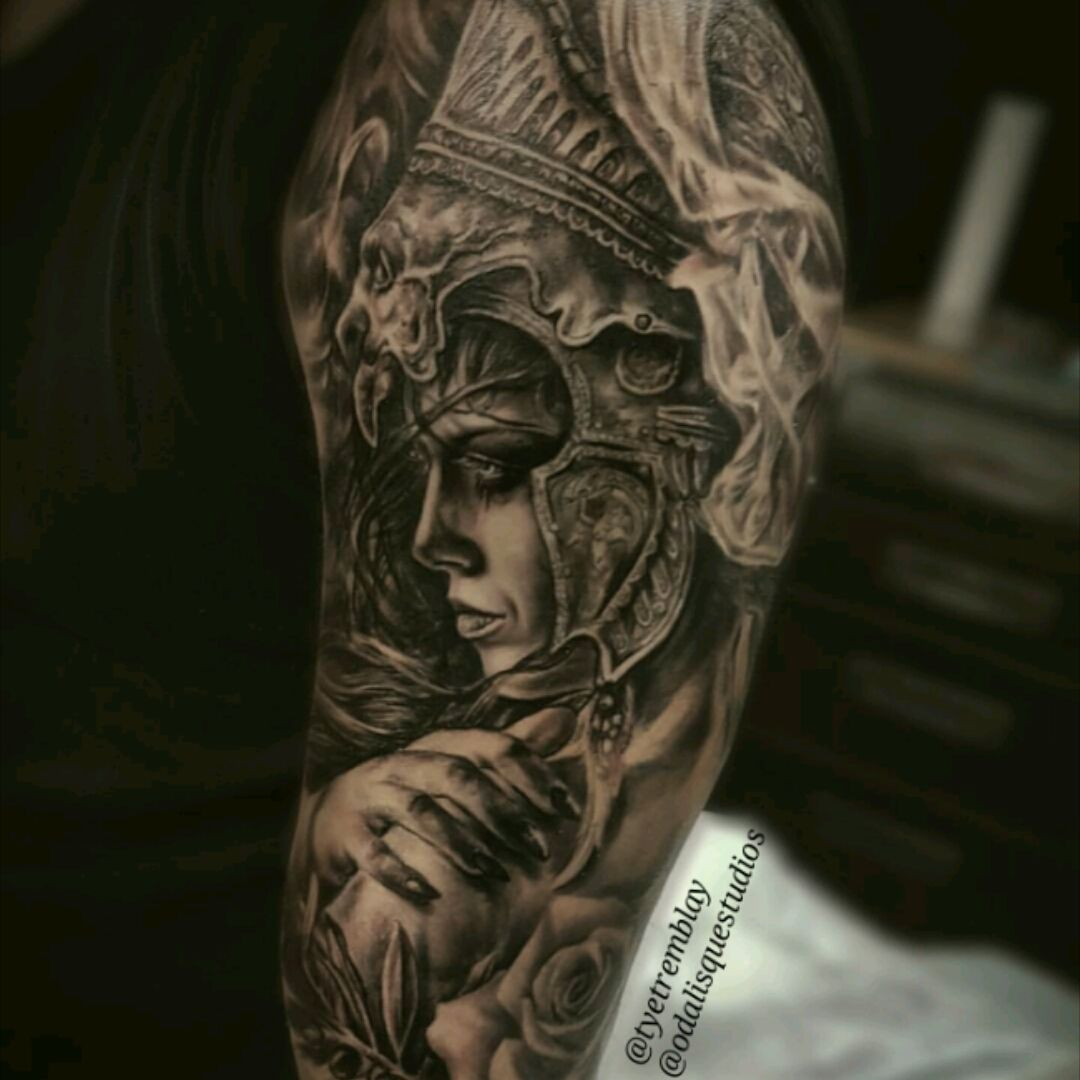 Athena Greek Goddess Half Sleeve Complete Tattoos Tattoos
