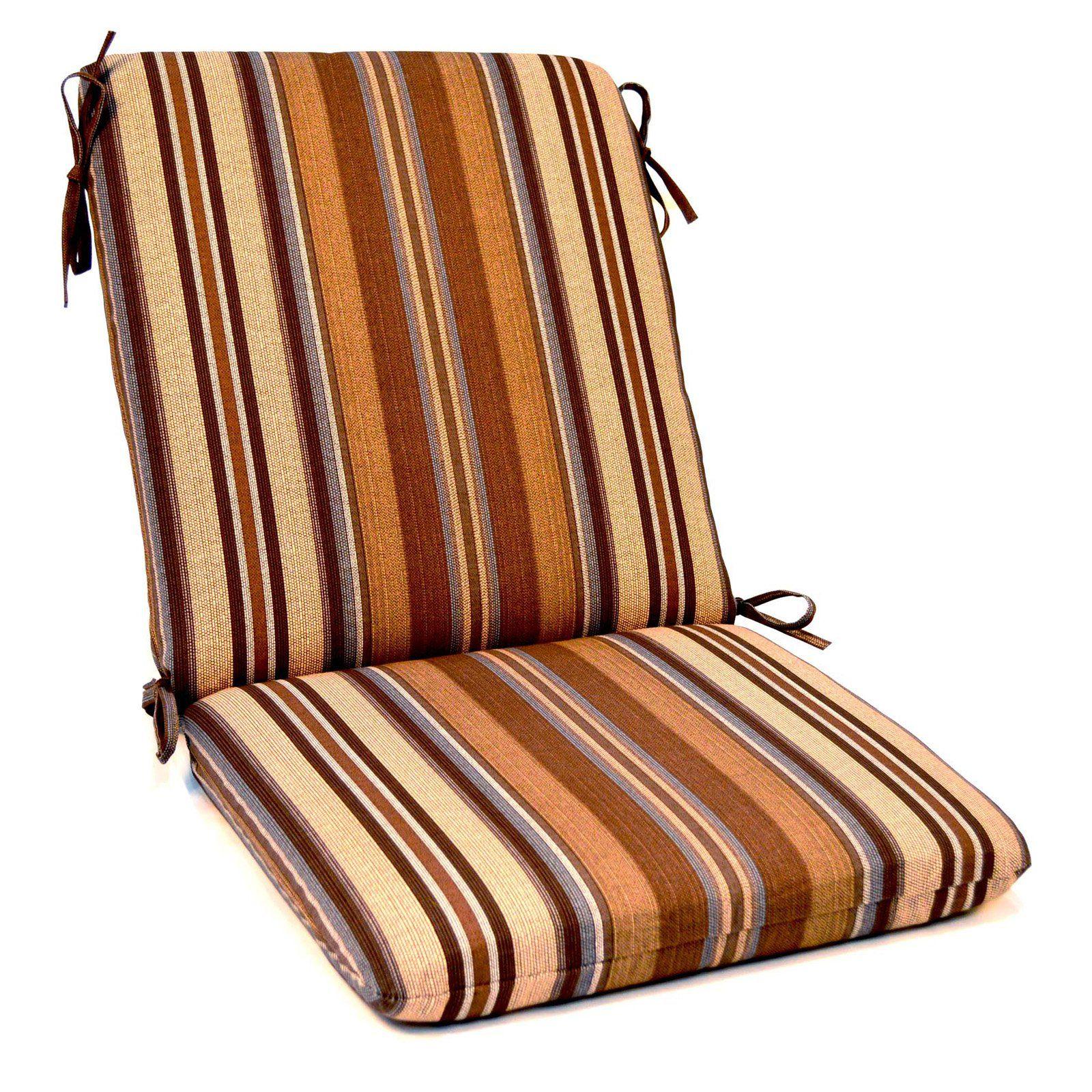 Casual cushion high back outdoor chair cushion set of 2