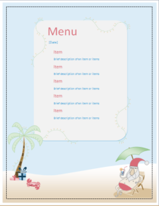 Menu Templates Free Microsoft Beauteous Santa Party Menu Sheet Download At Httpwww.templateinn10 .