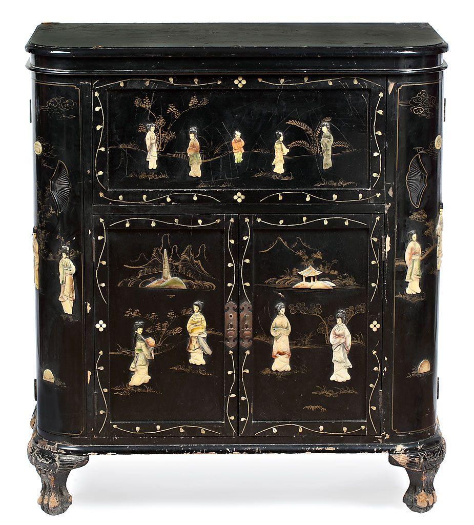 Mueble bar chino en madera lacada con incrustaciones en - Mueble chino antiguo ...