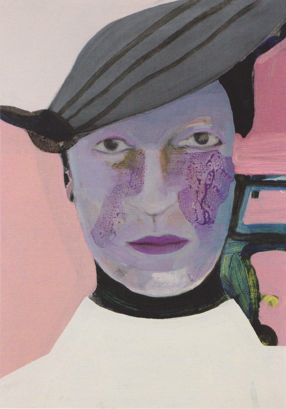 Bep Scheeren Met hoed, 2009 Acryl op linnen