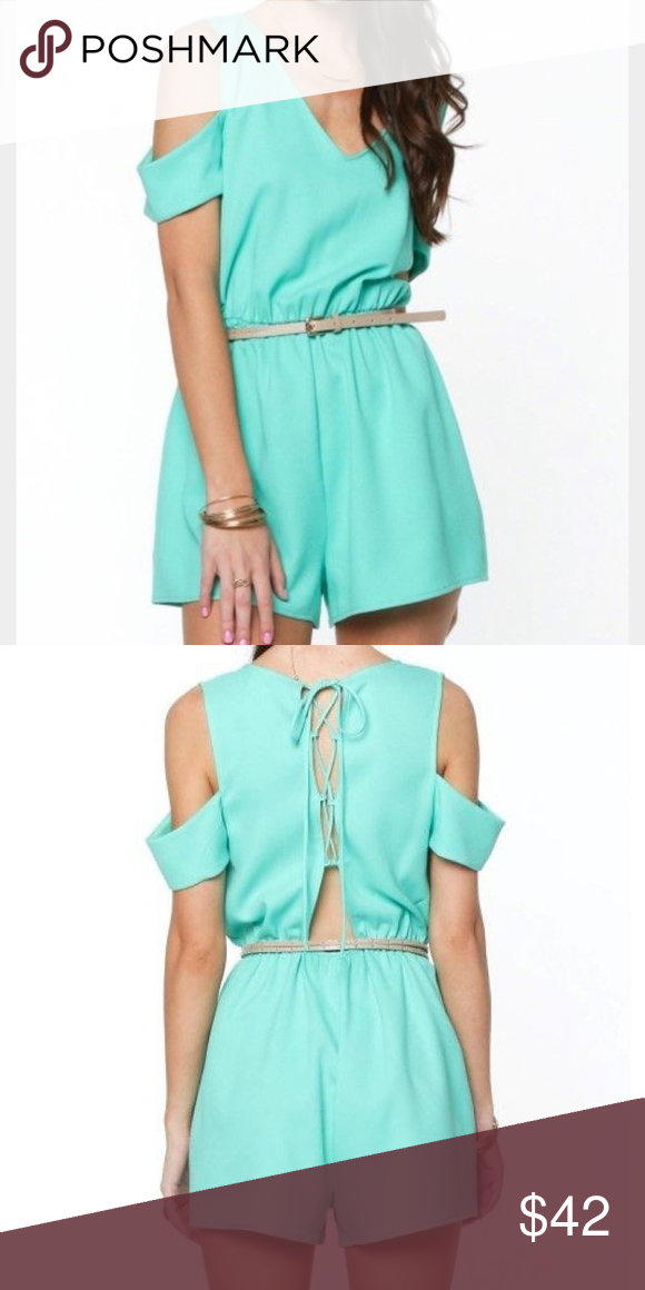 876a8209352d Everly Mint Cold Shoulder Lace Up Back Romper Features a scoop neckline  with cold shoulder sleeves