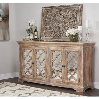 hamptons quatrefoil reclaimed wood mirrored buffet sideboard cabinet by inspire q artisan by inspire q
