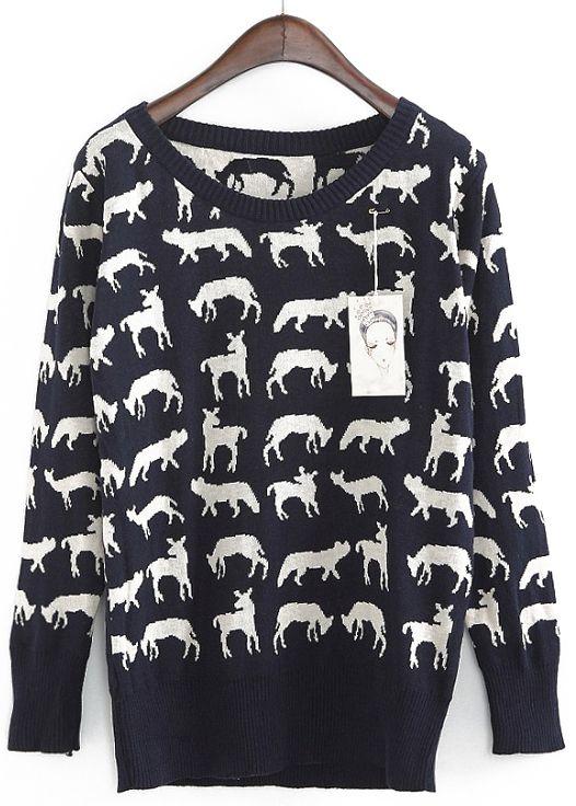Black Long Sleeve White Deer Pattern Sweater
