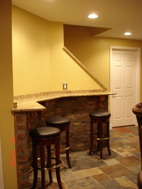 Mini Bar Seating Area For A Small Basement Finishing Basement Basement Design Small Basement Bars