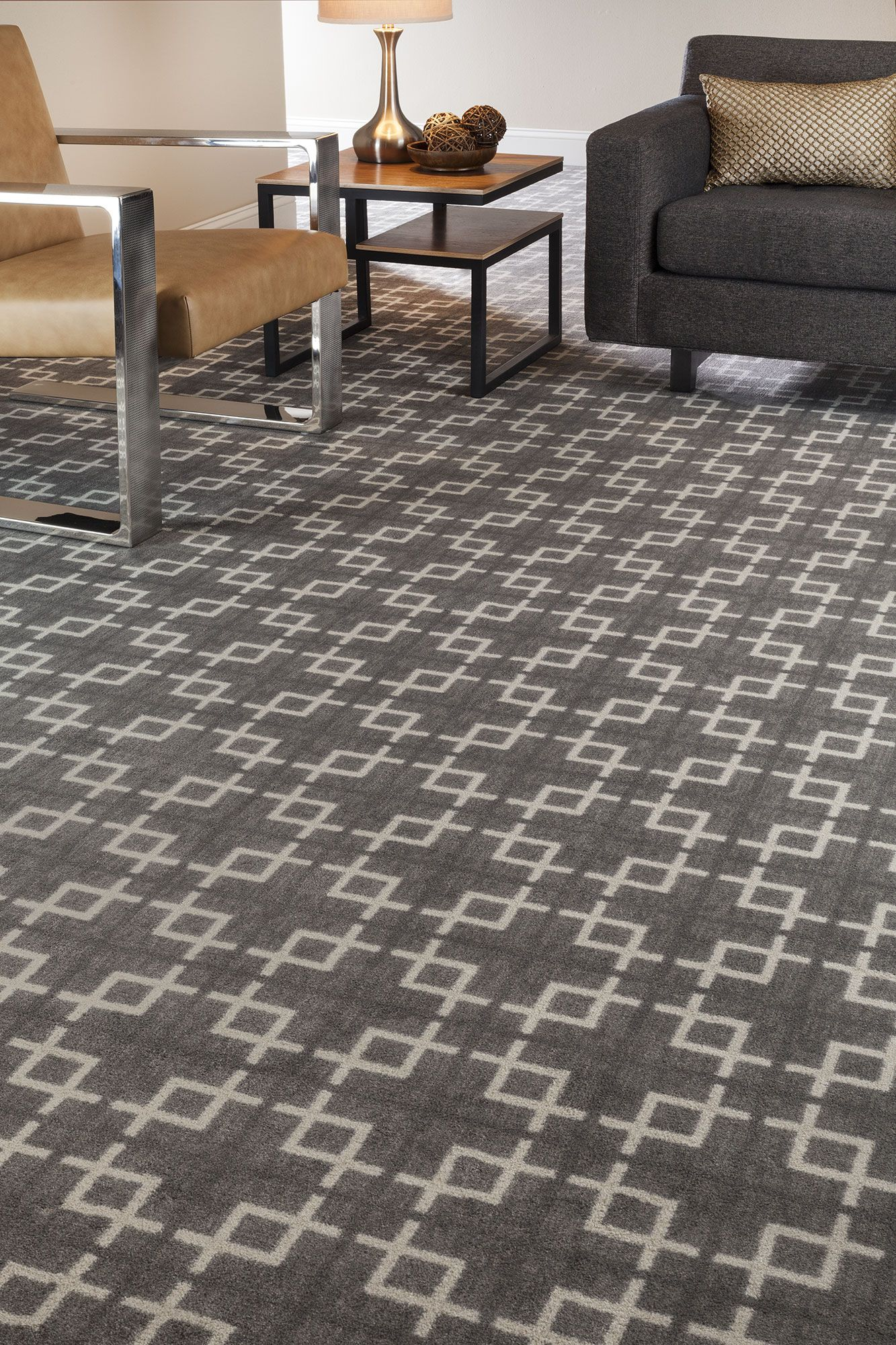 Geometric Patterned Carpet Gray Amp Cream Home Office