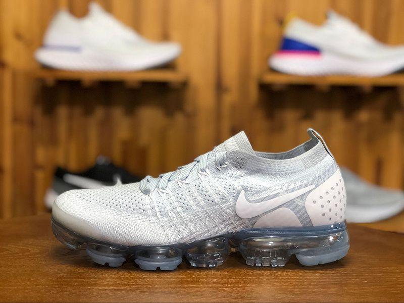 b96041fa131 2018 Nike Air Vapormax Flyknit 2.0 Mens Sport Shoes White Gray 942842-004