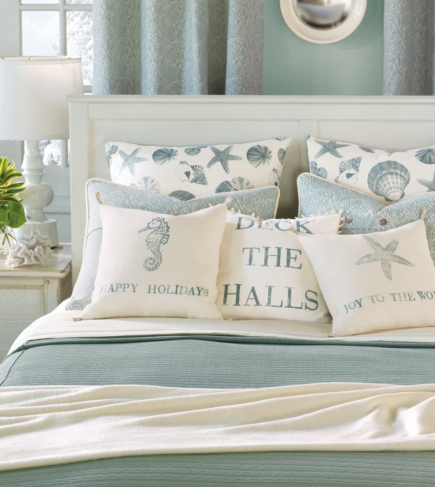 Coastal Christmas Pillows. Kohls Big One sheets. Great buy for the money and pretty- blue ...