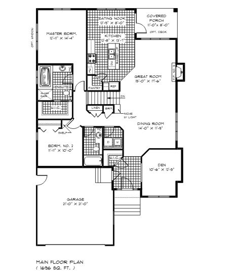 The Best 1600 Sq Ft House Plans Main Floor The Weldwood Floor Plan Is A 1600 Sqft Bungalow Built By New House Plans House Plans How To Plan