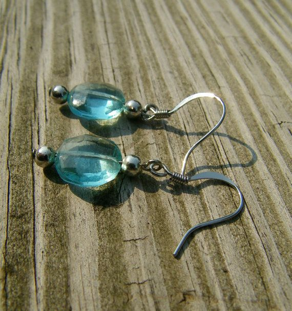 Dangle Earrings Aqua and Silver Tone by ericalev on Etsy, $7.00
