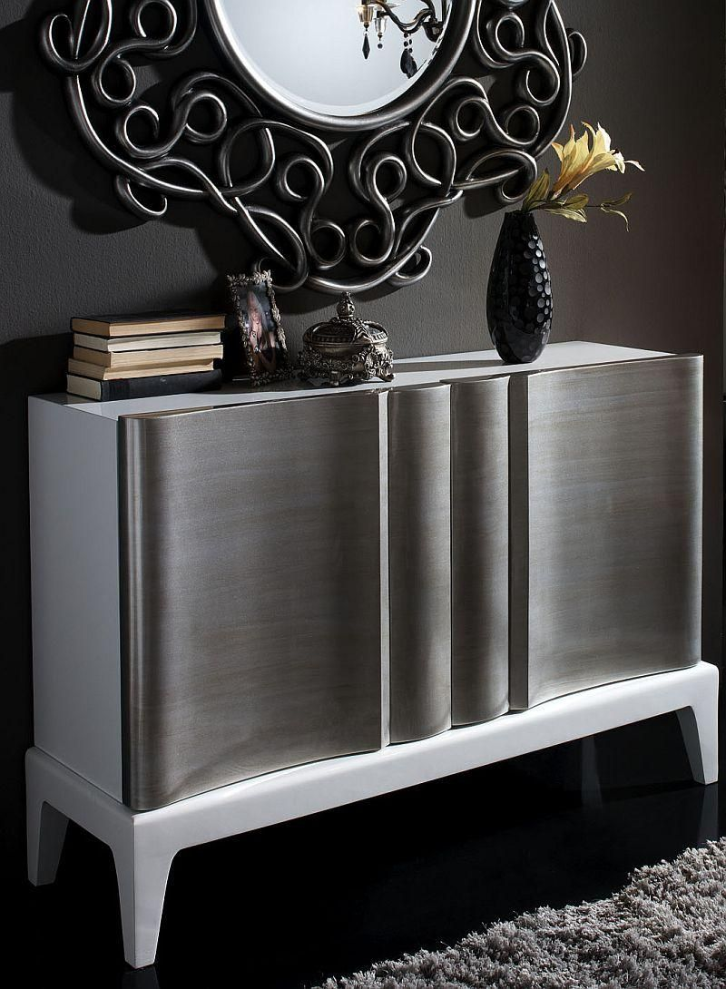 Paris contemporary sideboard in high gloss white and silver