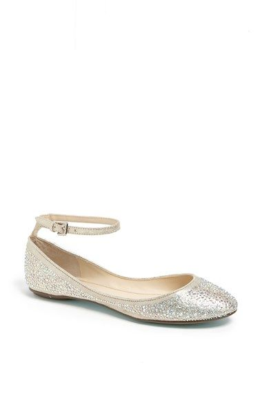 af3554214448 Free shipping and returns on Betsey Johnson  Joy  Ankle Strap Crystal  Embellished Flat at Nordstrom.com. A shimmery ballet flat with a skinny ankle  strap is ...