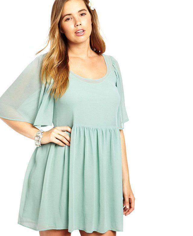 Plus Size Pure Color Dress | Plus size skater dress, Plus ...