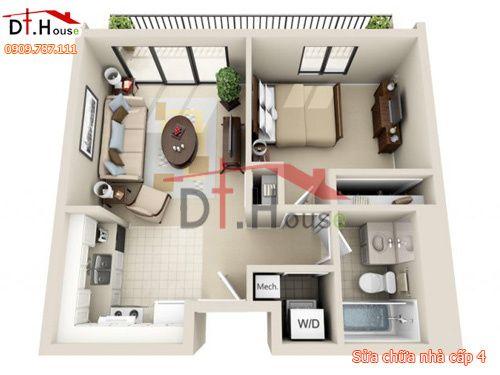 50 Plans en 3D du0027appartement avec 1 chambres Architecture, Tiny - maison en 3d gratuit