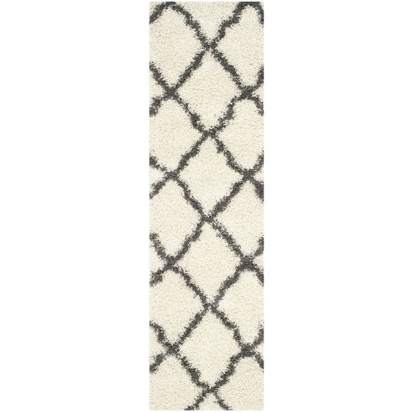 Safavieh Dallas Shag Ivory/ Dark Grey Rug ($34) ❤ liked on Polyvore featuring home, rugs, ivory, beige shag rug, plush rugs, plush area rugs, shag rugs and ivory rug