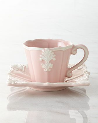 12-Piece Pink Square Baroque Dinnerware Service - Horchow