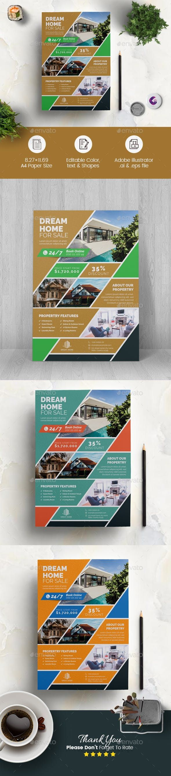 real estate flyer template  features  300 dpi print ready