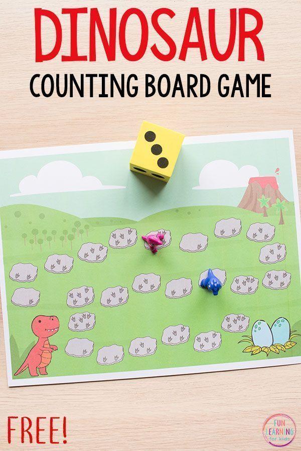 Dinosaur board game math activity for preschool and kindergarten ...