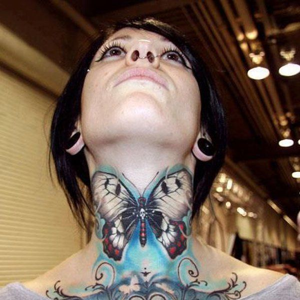 50 Awesome Neck Tattoos Art And Design Butterfly Neck Tattoo Butterfly Tattoo Neck Tattoos Women