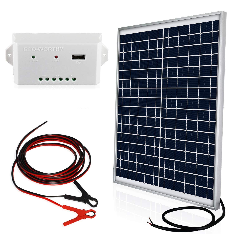 Eco Worthy 20 Watts 12v Solar Panel Kit Waterproof 20w Solar Panel 3a Usb Port Charge Controller 6 12v Solar Panel Solar Panel Kits Off Grid Solar Panels