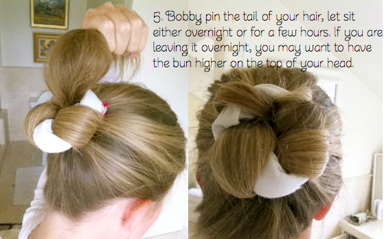 using a sock, take out the next day for curls