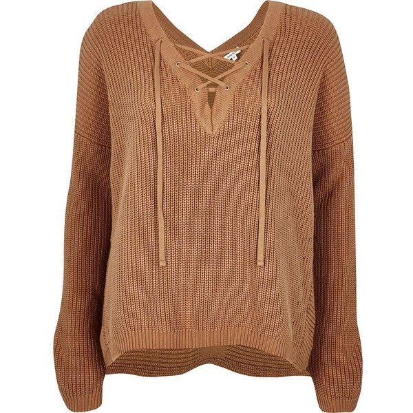 River Island Brown knitted lace-up slouchy jumper ($70) ❤ liked on Polyvore featuring tops, sweaters, knitwear, long sleeve jumper, slouchy sweater, deep v neck sweater, brown jumper and lace up long sleeve top