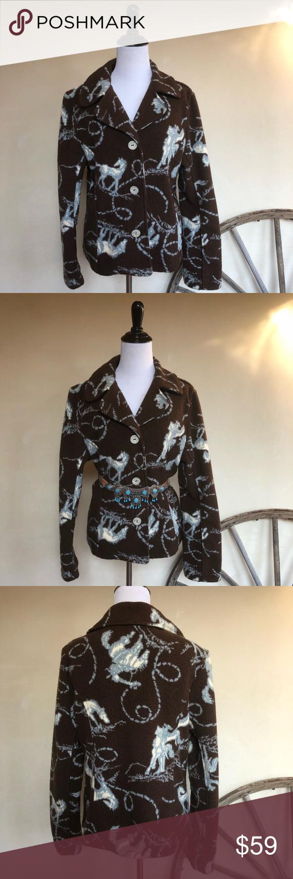 True grit horse cowboy western fleece jacket l usa ralph lauren