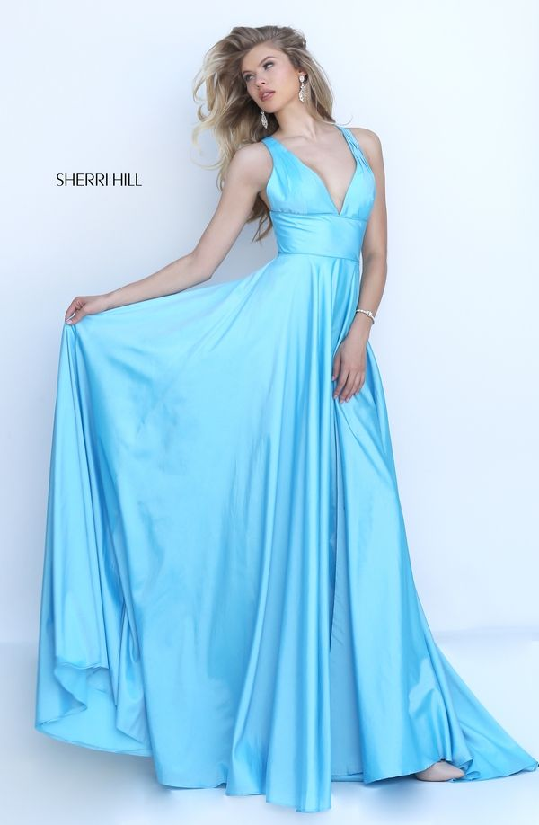 Sherri Hill 50296 Light Blue V-neck Open Back Slit Long Prom Dresses 2016
