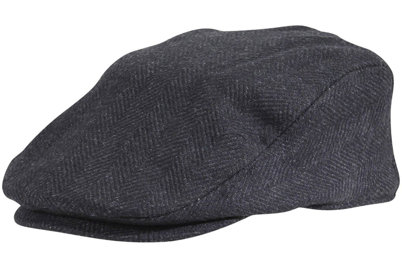 Dorfman Pacific Wool Herringbone Ivy Scally Cap Driver Hat - Black -  CM12C9MSRCV - Hats   Caps b8cee65ca33