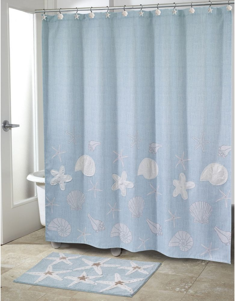 Coastal Shower Curtain Sequins Shells Starfish Embroidery Blue Fabric Bathroom Avanti Tro Coastal Shower Curtain Fabric Shower Curtains Unique Shower Curtain