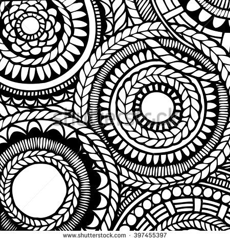 Zentangle flower mandala for coloring book and adults. Made by trace from personal hand drawn flower mandala sketch. Flower mandala in vector. Modern flower mandala in flat style. Black and white - stock vector